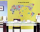 Інтер'єрна наклейка Карта світу (100х60см), фото 4