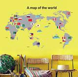 Інтер'єрна наклейка Карта світу (100х60см), фото 8