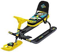 Снегокат Тимка Спорт 4-1 (ТС 4-1) со спинкой и рулеткой, разные цвета, Nika Kids.