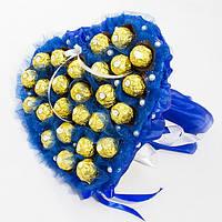Букет из конфет Сердце из Ферреро роше 27 синее, фото 1