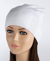 Удлиненная шапка с защипом Диана белая