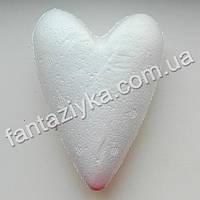 Сердце пенопластовое длинное 11х8см, заготовка для декора