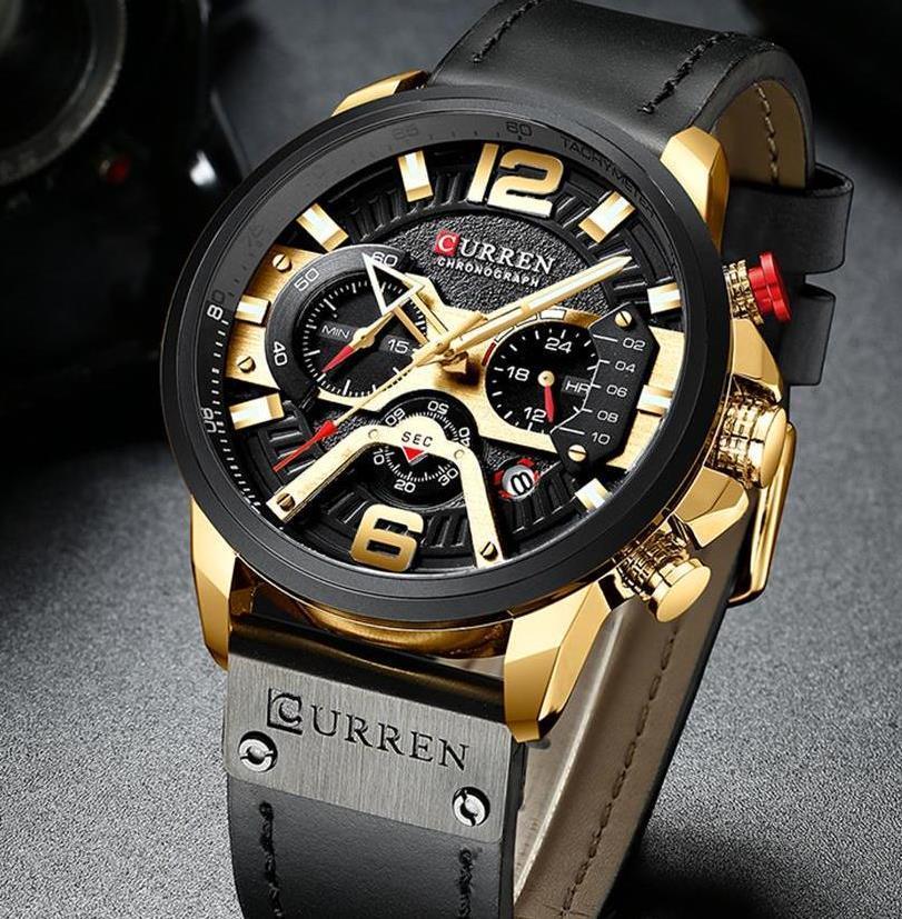 Мужские часы Curren (black-gold) - гарантия 12 месяцев