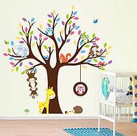 Интерьерная наклейка Дерево и зверята  (109х109см), фото 1