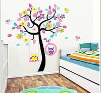 Интерьерная наклейка Совы на дереве  (170х160см), фото 1