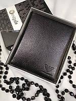 Кошелек Armani из натуральной кожи + коробок, кожаные кошельки Armani, кошелек армани мужской, портмоне бренд, фото 1