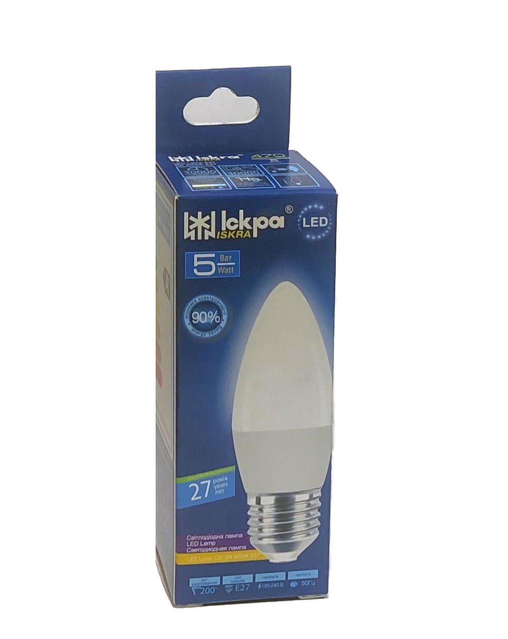 Лампа світлодіодна LED СВІЧКА, 5Вт, Природньо-білий,  (E27), 220B