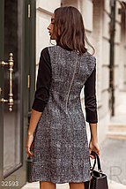 Двухцветное элегантное платье расклешенного кроя с завышенной линией талии цвет серо-черный, фото 2