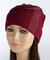 Вязаная шапочка с защипом Диана бордовая