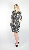 Женское камуфляжное платье-рубашка с поясом, фото 1