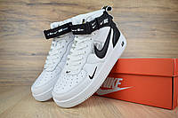 Мужские зимние кроссовки на меху в стиле Nike Air Force 1 Mid LV8, кожа, белые с черным 42 (26,5 см)