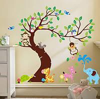 Интерьерная наклейка Дерево и зверята  (189х143см), фото 1