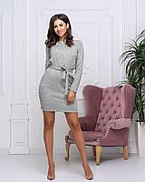 "Женское закрытое платье ""Holly"" | Батал серый, 50-52"