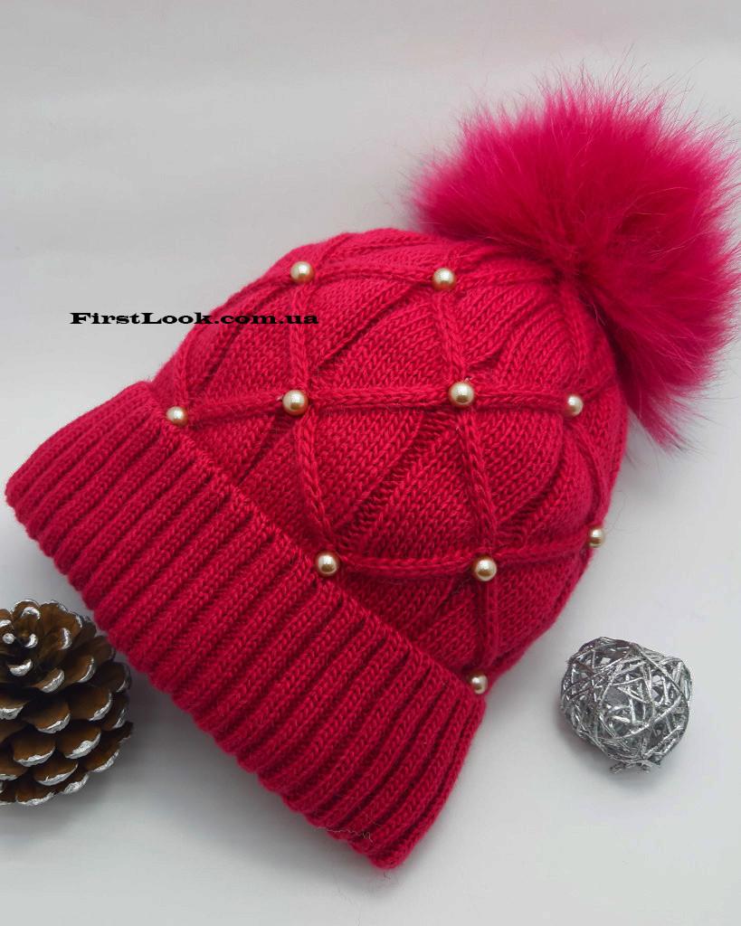 Детская зимняя вязаная шапка на девочку