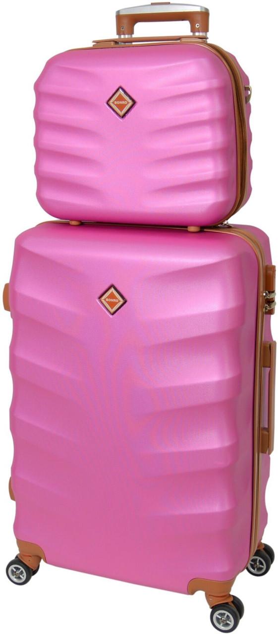 Комплект чемодан и кейс Bonro Next (средний).  Цвет розовый.