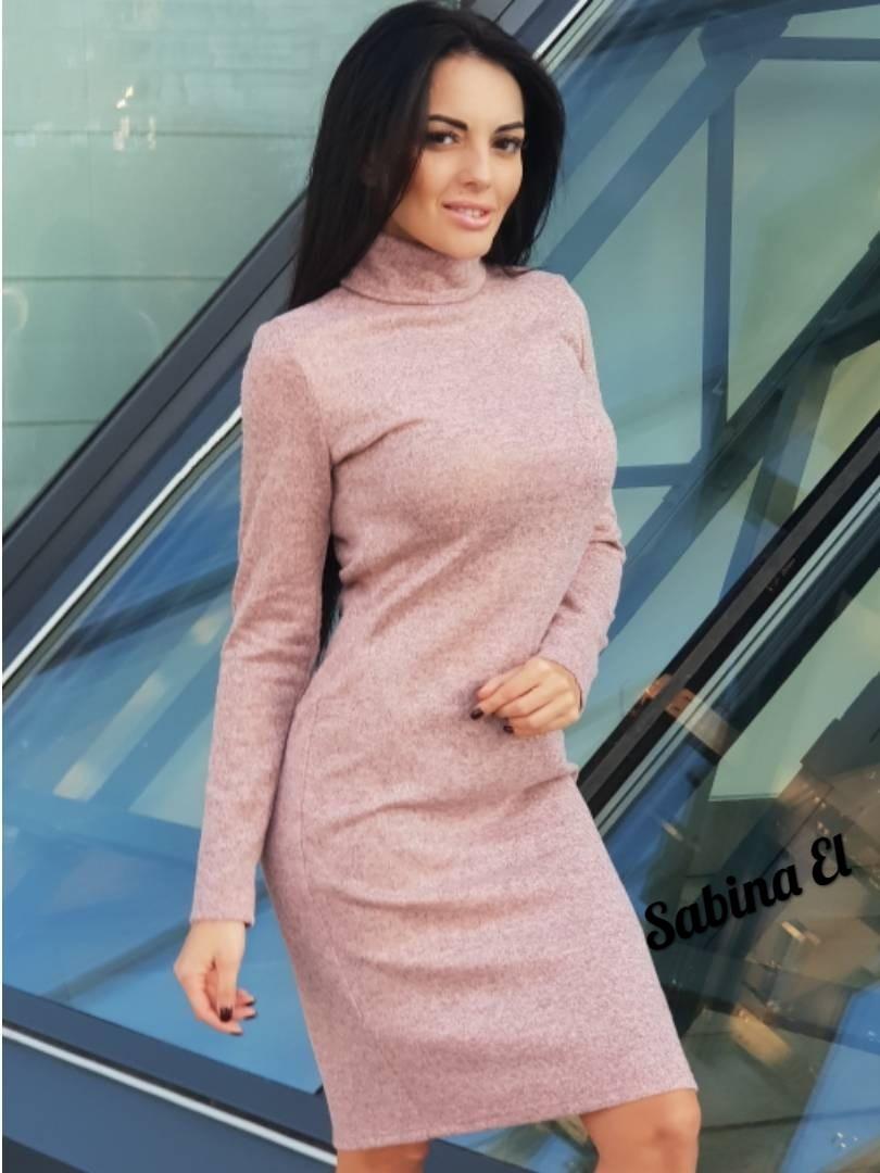 Трикотажное платье - гольф длиной миди с длинным рукавом 7plt140