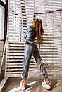 Ангоровый женский спортивный костюм тройка с топом и укороченным бомбером 18spt751, фото 4