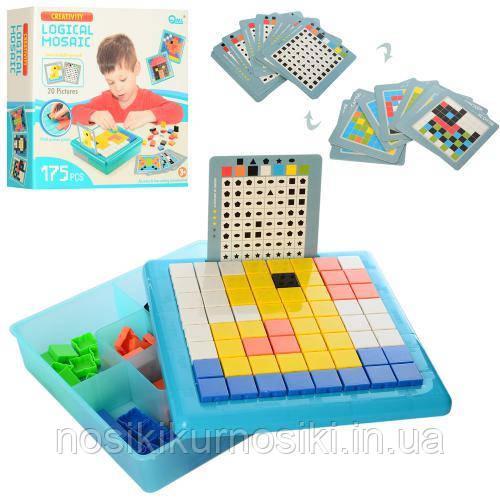 Дитяча велика мозаїка, логічна гра 175 блоків, 20 карток