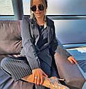 Женский деловой костюм с брюками клеш укороченными и пиджаком 3kos200, фото 2