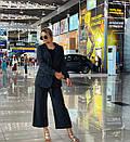 Женский деловой костюм с брюками клеш укороченными и пиджаком 3kos200, фото 4