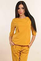 """Стильная офисная плотная женская блуза в цвете горчица RiMari  """"Горчица"""" 42, 46, 50"""