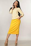 Женский желтый трикотажный повседневный костюм юбка с кофточкой RiMari Сити 42, 44, 46, 48, 50, 52, 54