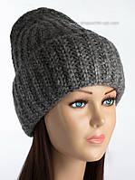 Удлиненная объемная шапка Габби темно-серая