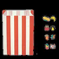 """1881 Бумажный пакет жиростойкий """"Красные полоски"""" 170х120х50мм (ВхШхГ) 55г/м² (1уп/100шт)"""