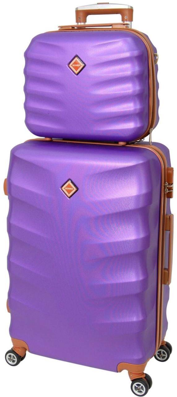 Комплект чемодан и кейс Bonro Next (небольшой).  Цвет фиолетовый.