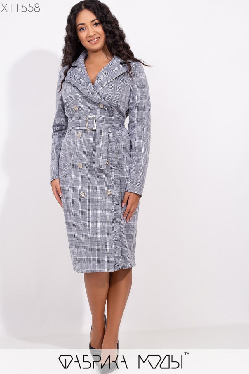 Трикотажное платье в клетку в больших размерах двубортное 1blr245