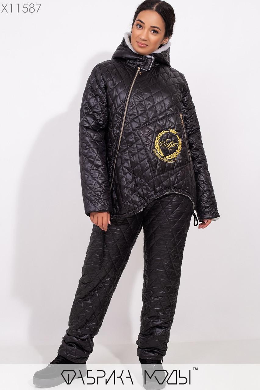 Женский теплый костюм на синтепоне в больших размерах с косой молнией 1blr246