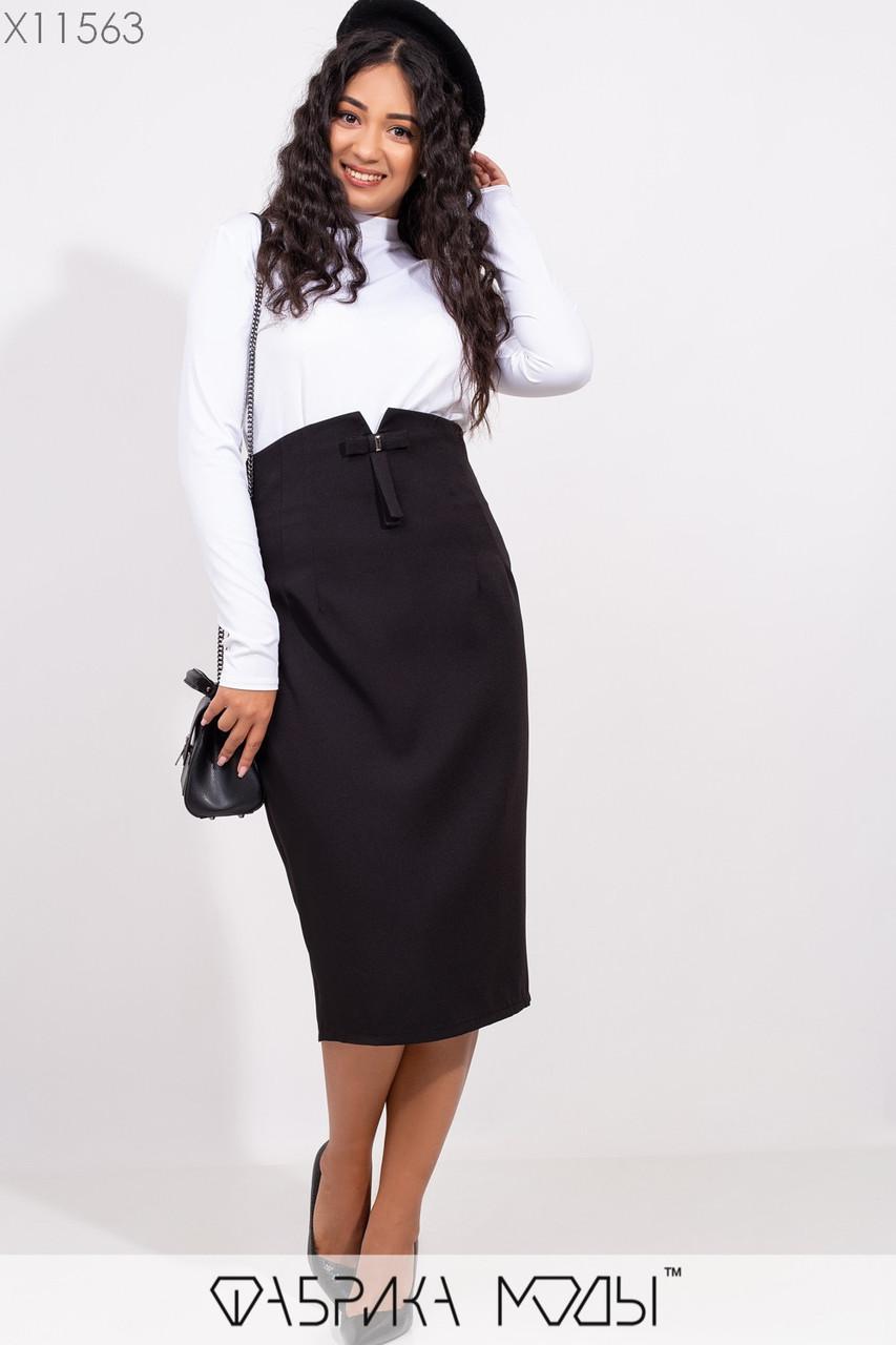 Женская юбка в больших размерах с завышенной посадкой и длиной ниже колен 1blr249