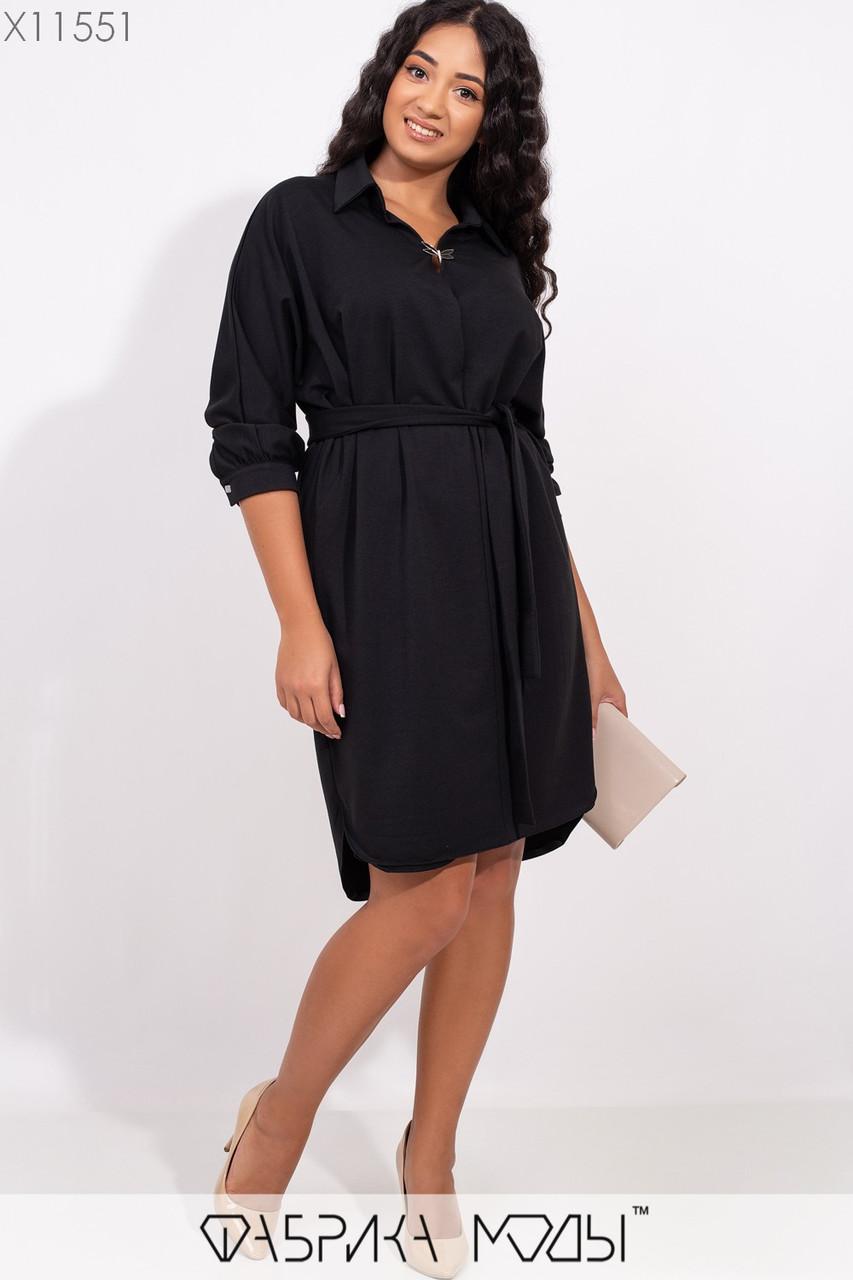 Женское платье - рубашка в больших размерах из двухнитки 1blr251