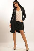Удлиненный черный женский приталенный трикотажный пиджак RiMari Импреза 42, 44