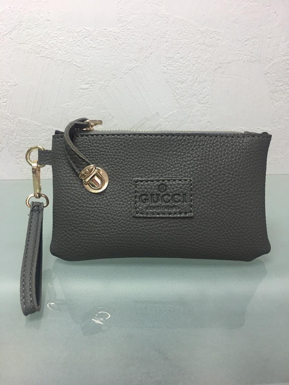 Кошелек - клатч с ручкой в стиле Gucci серый