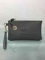 Кошелек - клатч с ручкой в стиле Gucci серый, фото 1