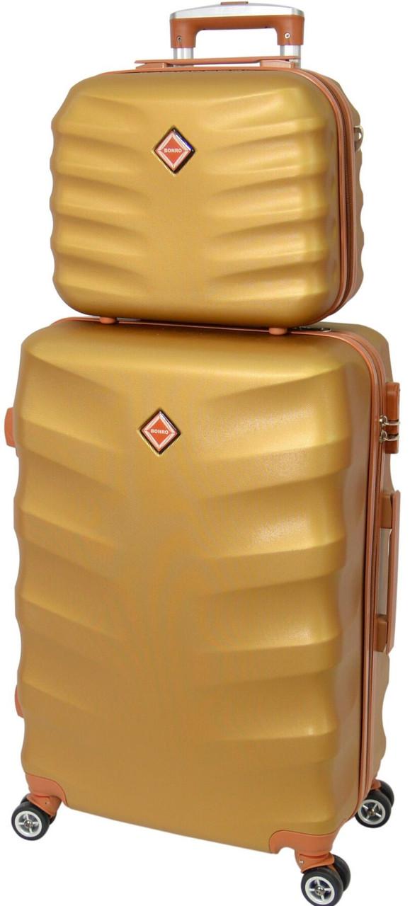 Комплект чемодан и кейс Bonro Next (небольшой).  Цвет золотой.