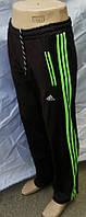 Мужские спортивные штаны Адидас Эластик с зелёными вставками, фото 1