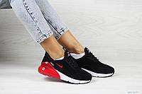 Женские кроссовки в стиле Nike Air Max 270, замша, пена, черные с красным 37