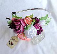 """Обруч віночок для волосся з квітами ручної роботи """"Букет Флора""""/// Обруч для волос с цветами """"Букет Флора"""""""