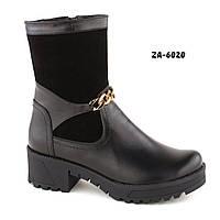 Женские ботинки из натуральной кожи и замши чёрного цвета на  толстой подошве