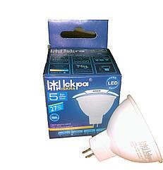 Светодиодная лампа LED РЕФЛЕКТОРНАЯ (MR16) 5Вт, 220B, цоколь GU5.3