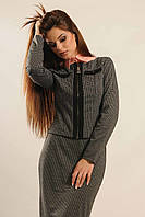Женский теплый трикотажный пиджак на змейке принт гусиная лапка RiMari Бриттани  42, 44, 48, 50, 52