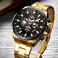 Механические часы с автоподзаводом Forsining (gold-black) - гарантия 12 месяцев