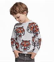 Кофта с тигром для мальчика 2-7 лет