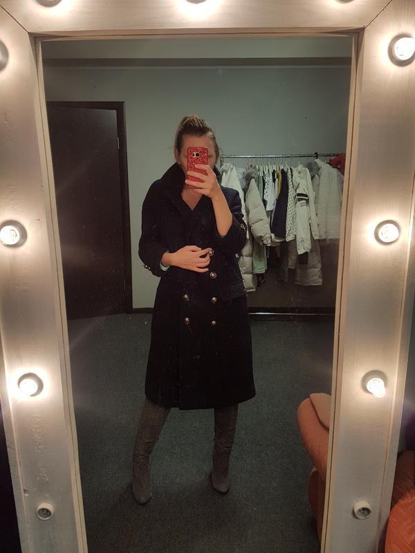 Распродажа! ХS Фирменное черное пальто Cache Cache размер ХS