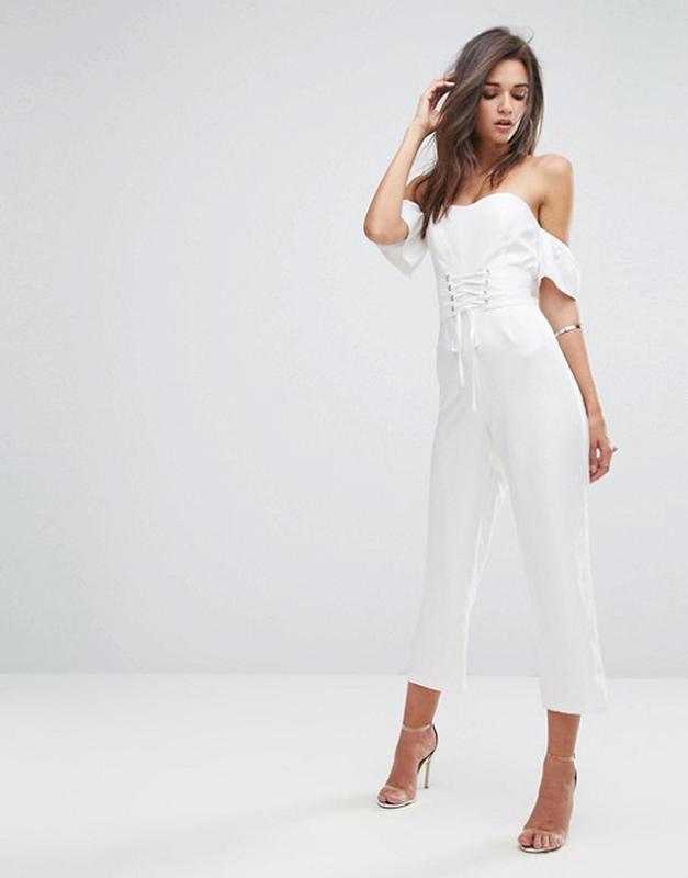 Распродажа! Fashion Union р. SФирменный белый комбинезон