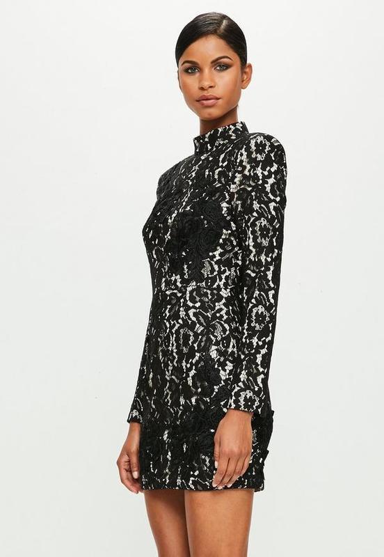 Распродажа! XXL XS Ажурное фирменное черное платье Missguided с белой подкладкой