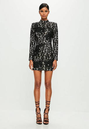 Ажурное фирменное черное платье Missguided с белой подкладкой размер XXL XS, фото 2