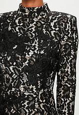 Распродажа! XXL XS Ажурное фирменное черное платье Missguided с белой подкладкой, фото 2